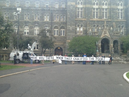 Protesters at Georgetown Thursday (Photo via John McCormack)