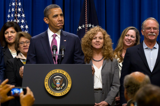 Obama speaks Wednesday on the Buffett Rule surrounded by millionaires, including Abigail Disney