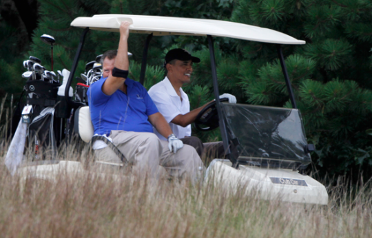 Wolf and Obama in Martha's Vineyard in 2010 / AP Images