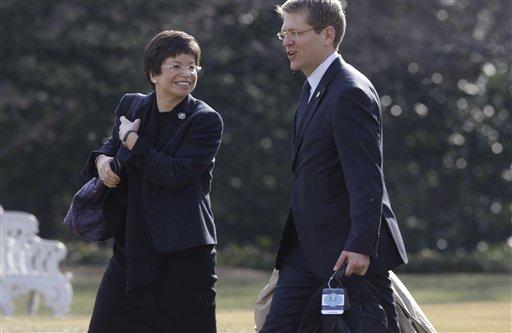Jay Carney, Valerie Jarrett -- AP