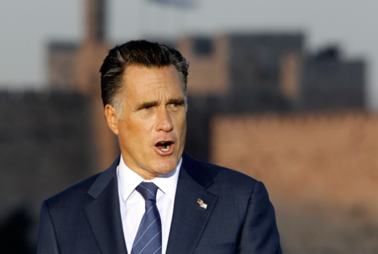 Mitt Romney speaks in Jerusalem Sunday. (AP Images)