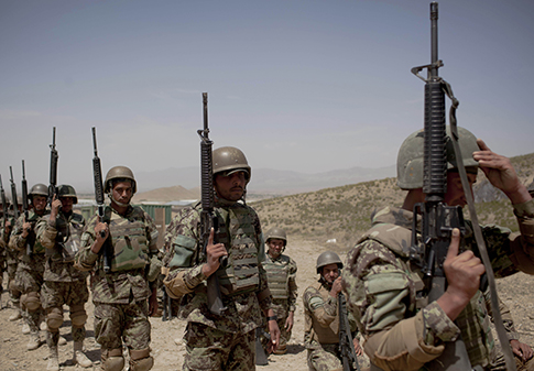 Afghan National Army soldiers line up for a May training session. (AP Images)