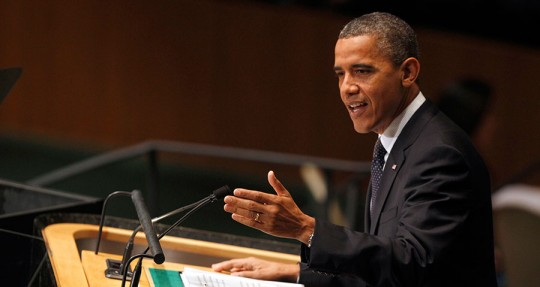 President Barack Obama addresses the 67th session of the United Nations General Assembly at U.N. headquarters Sept. 25, 2012.  (AP Photo/Mary Altaffer)