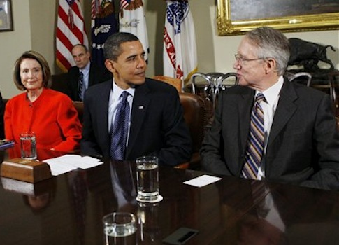 Nancy Pelosi, Barack Obama, Harry Reid / AP