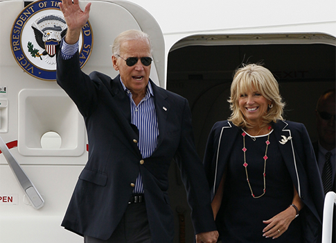 Joe Biden with wife, Jill wearing Van Cleef & Arpels Vintage Alhambra necklace
