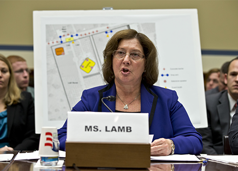 Deputy Assistant Secretary of State Charlene Lamb testifies at committee hearing / AP