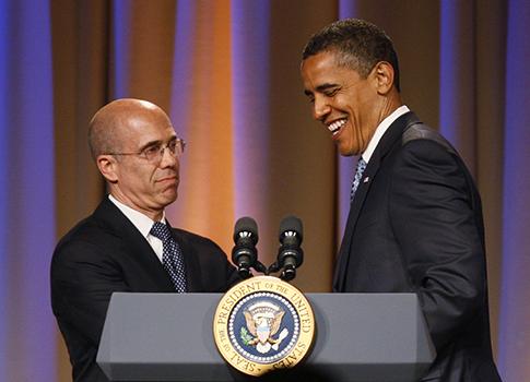 Jeffrey Katzenberg, President Obama / AP