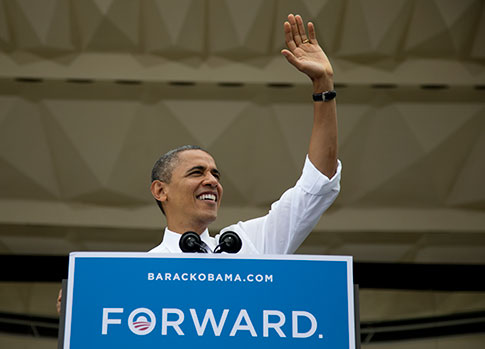 President Obama campaigns in Ohio in September. (AP Images)