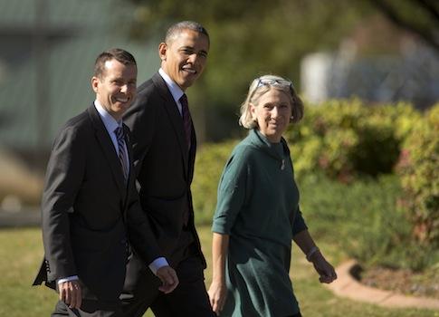 David Plouffe, Barack Obama, Anita Dunn / AP
