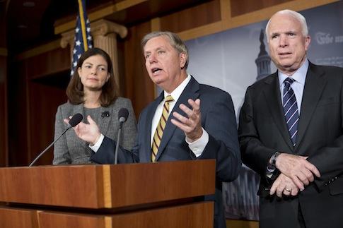 John McCain, Kelly Ayotte, Lindsey Graham / AP