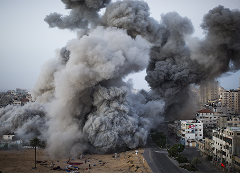 Smoke rises after an Israeli forces strike in Gaza City / AP