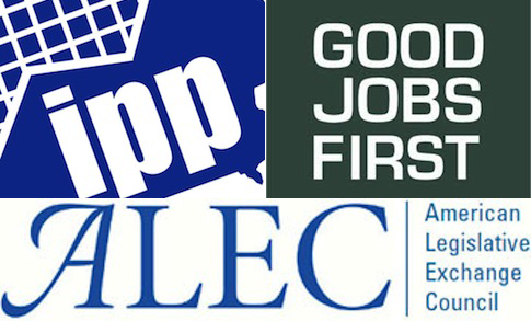 Iowa Policy Project, Good Jobs First, ALEC logos