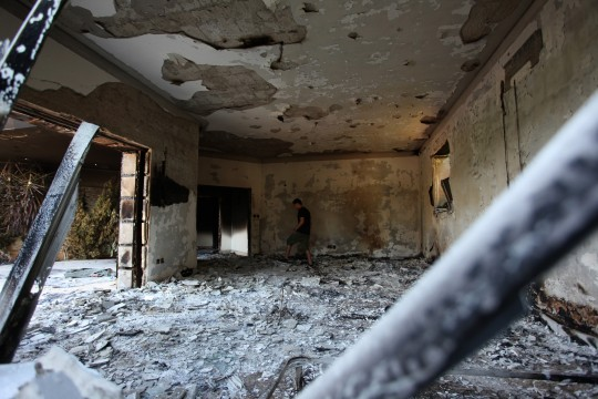 Burnt out compound in Benghazi / AP