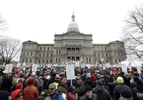 Lansing, Mich. right-to-work protest / AP