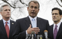 House Majority Whip Kevin McCarthy, House Speaker John Boehner, House Majority Leader Eric Cantor / AP