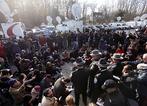 News briefing in Newtown, Conn. / AP