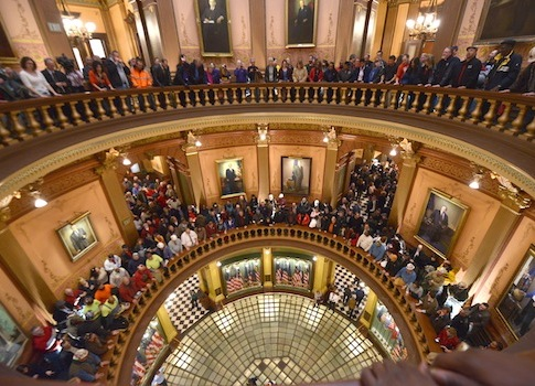 Labor Protest in Lansing / AP