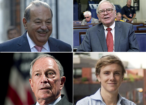 Carlos Slim, Warren Buffett, Michael Bloomberg, Chris Hughes