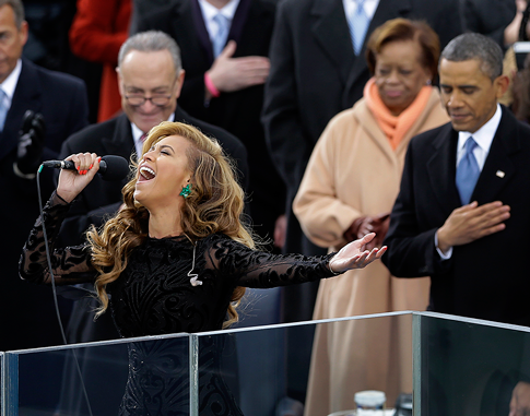 Beyoncé, reportedly not singing. (AP)