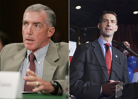 Maj. Gen. Paul Eaton, Rep. Tom Cotton / AP