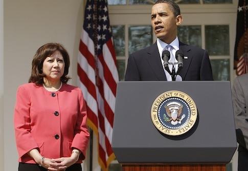 Barack Obama, Hilda Solis / AP