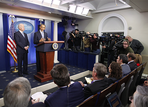 President Barack Obama and Vice President Joe Biden make a statement regarding the passage of the fiscal cliff bill / AP