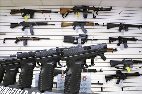 Guns on sale at Capitol City Arms Supply in Springfield, Ill. on Jan. 16, 2013 (AP)