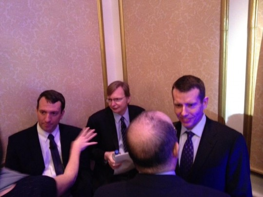 Carson, Messina, and Plouffe at the Founders Summit (photo via @LynnSweet)