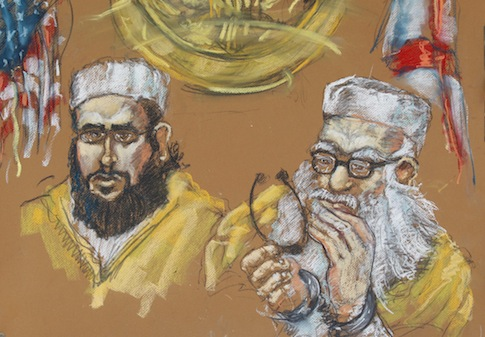 artist rendering of Hafiz Khan and his son, Izhar Kahn in federal court in Miami / AP