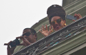 Jay-Z and Beyoncé wave during their trip to Cuba last week (AP)