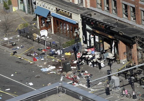 One of the blast sites on Boylston Street near the finish line of the 2013 Boston Marathon / AP