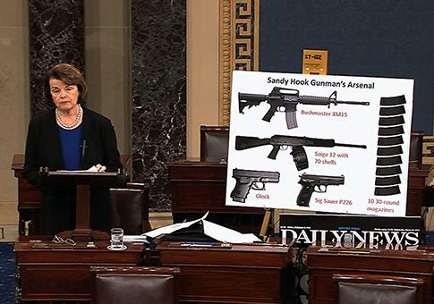 Sen. Dianne Feinstein speaks about gun legislation on Senate floor, April 17 / AP