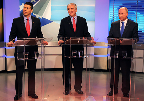 GOP Mass. Senate candidates Gabriel Gomez, Michael Sullivan, and Daniel Winslow  / AP