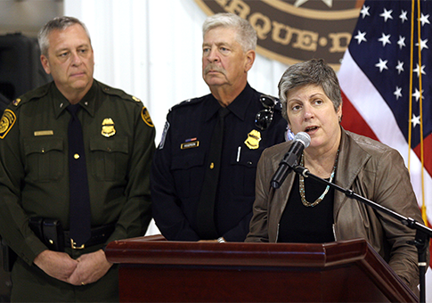 DHS Secretary Janet Napolitano speaks in the U.S. Customs and Border Protection Office in Texas on immigration and border security / AP