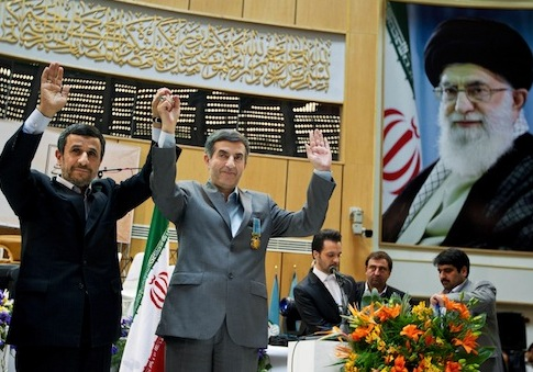 Iranian President Mahmoud Ahmadinejad and chief of staff Esfandiari Rahim Mashaei, March 2013 / AP