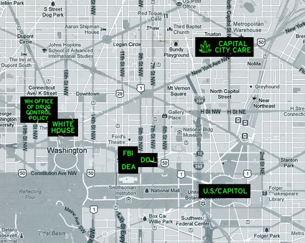 Marijuana Dispensaries Open In DC Under Obama Administrations Nose - Map of us capitol building