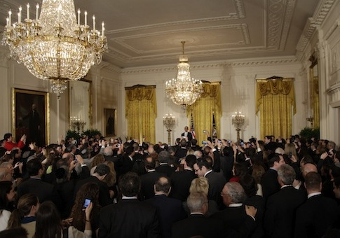President Obama speaks at a Jewish American Heritage Month reception in 2011 / AP