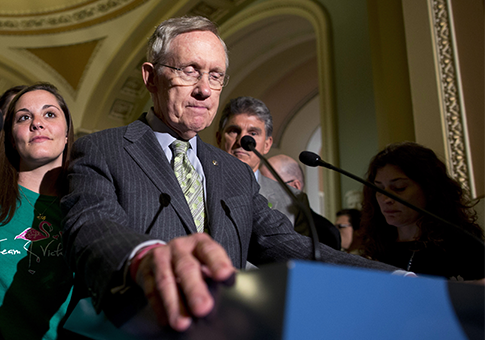 Reid speaking after failed gun legislation in Senate / AP