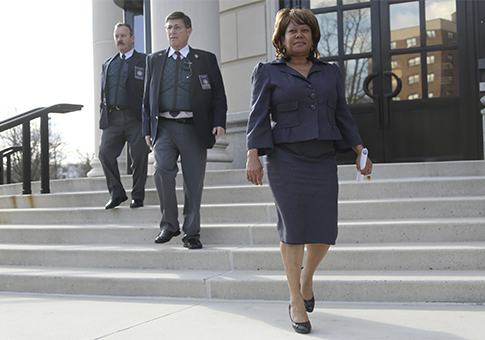 Spring Valley Mayor Noramie Jasmin leaves federal court / AP