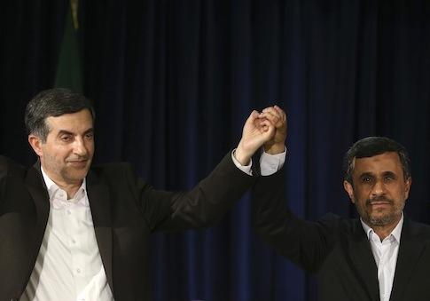 Mahmoud Ahmadinejad with Esfandiar Rahim Mashaei / AP