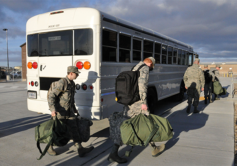 Airmen from the 28th Bomb Wing, 34th Squadron prepare to deploy to southwest Asia / AP
