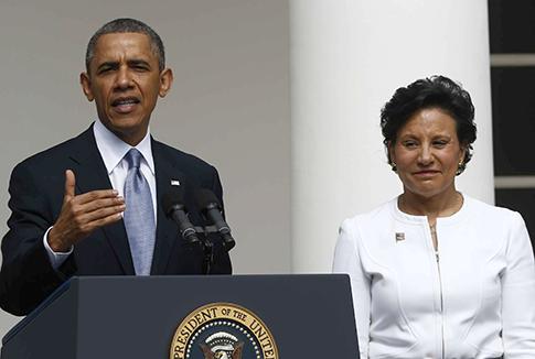 President Obama and Penny Pritzker Thursday. (AP)