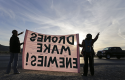Demonstrators protest the use of drones in Nevada in March / AP