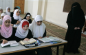 Palestinian girls read the Quran, at an Islamic school sponsored by Hamas in Gaza City / AP