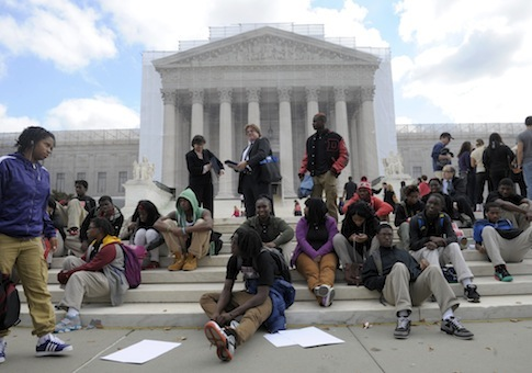 Students supporting affirmative action outside the Supreme Court / AP