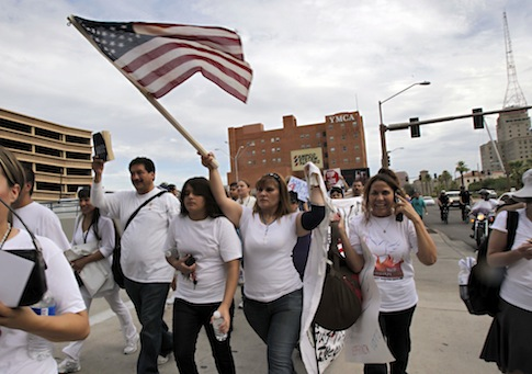 Arizona immigration law protest / AP