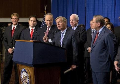 Gang of Eight speaks on immigration reform / AP