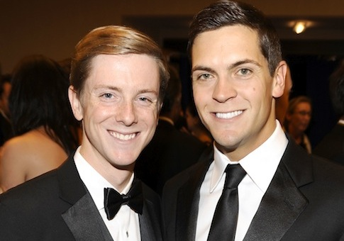 Poke-button pioneer Chris Hughes (left), and Facebook spouse Sean Eldridge / AP