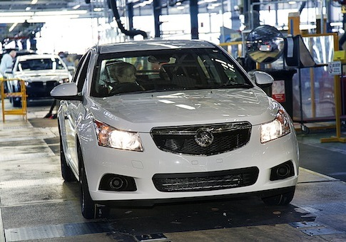 Holden Cruze hatch being driven off the assembly in Australia / AP