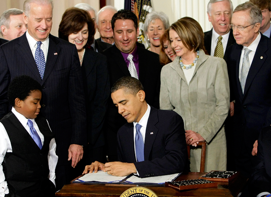 President Barack Obama signs the Affordable Care Act on March 23, 2010